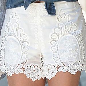 Dolce Vita Ivory Eyelet Lace Crochet Shorts